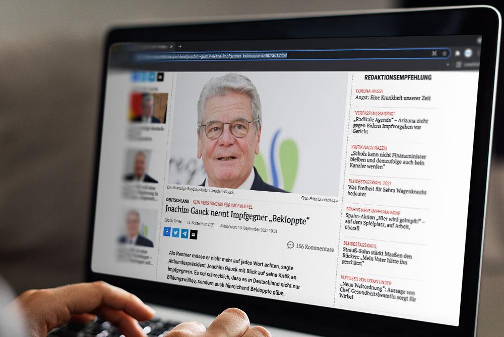 Offener Brief an Alt-Bundespräsident Joachim Gauck: Impfgegner sind keine Bekloppte